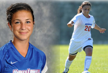 Hannah Merullo, one of several UMass Lowell student-athletes recently recognized for academic and community achievements, received a 2012 Chancellor's Medal.