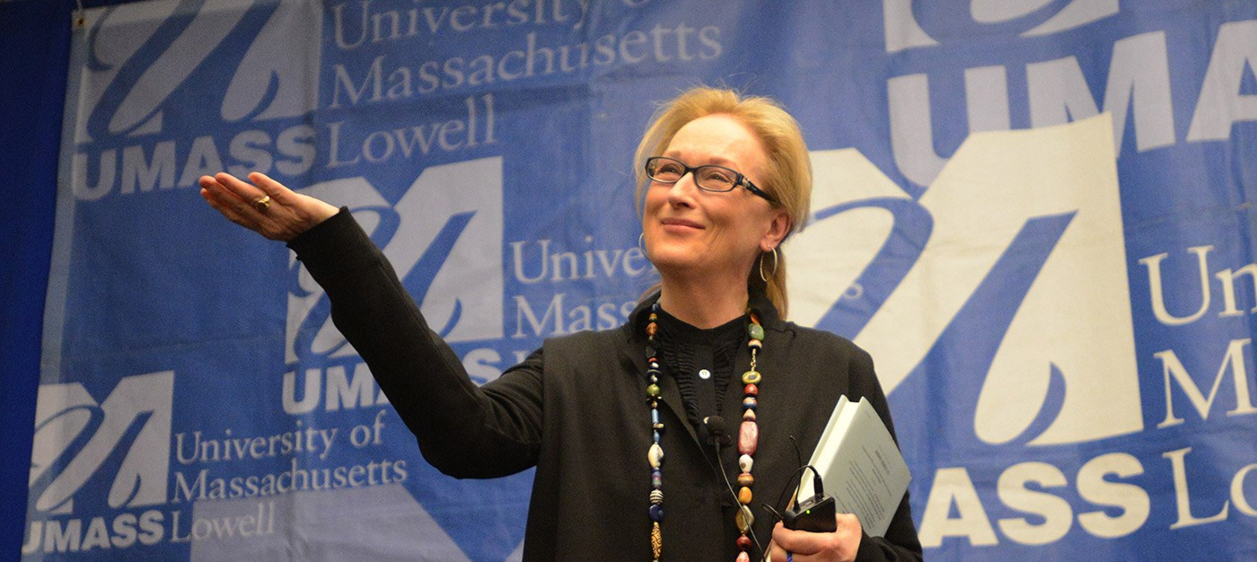 Oscar winner Meryl Streep met with UMass Lowell English and Theater Arts students at the Inn & Conference Center prior to her evening appearance.