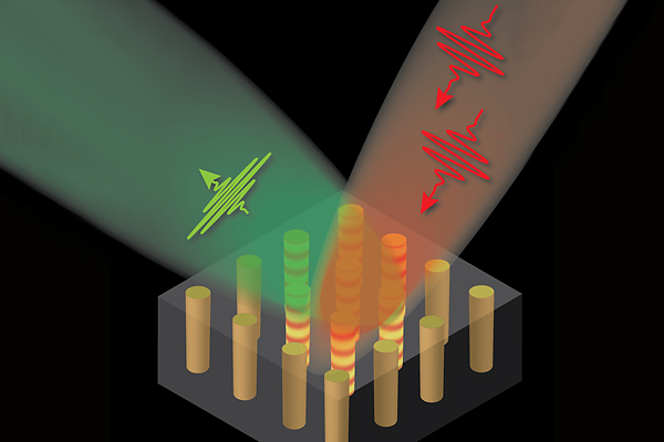 The illustration shows two incoming (red) photons being converted into one reflected (green) photon as result of light interaction with the nanowire structure in the metamaterial. The nanowires are about 100 nanometers apart from center to center, which is about one-fifty-thousandth the diameter of human hair.