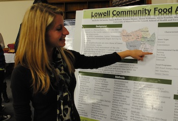 Community health student Michelle DiCiaccio worked with the Lowell Food Security Coalition to conduct a survey that measured the affordability, availability and quantity of healthy food in the Acre section of Lowell.
