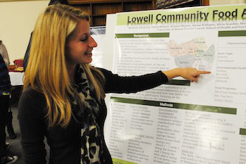 In partnership with the Lowell Food Security Coalition, senior community health student Michelle DiCiaccio researched the availability of healthy food for people who live in the Acre section of Lowell.