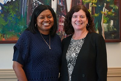 Audrey Frater, director of the STEM Starter Academy and Pathways Center at Middlesex Community College, runs the Engineering Summer Bridge Program with UML Vice Provost for Student Success Julie Nash