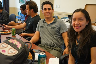 Middlesex Community College students Pablo Ruiz and Laura Rodriguez celebrate at the end of the Engineering Summer Bridge Program.