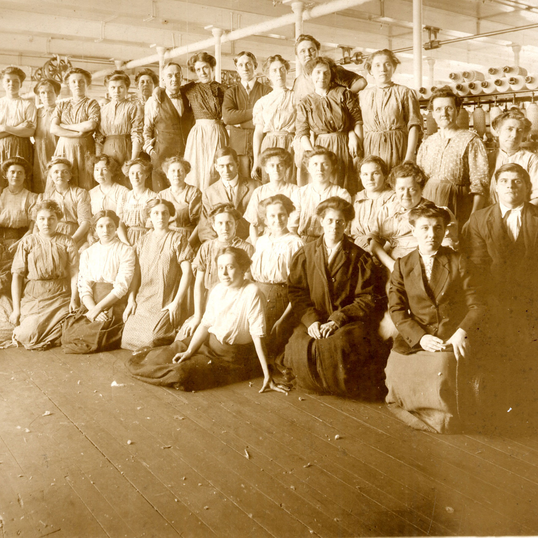Black and white photo of Boott Mill workers