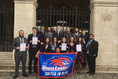 UMass Lowell's Model U.N. team in Leuven, Belgium