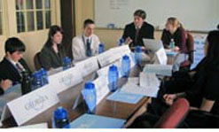 Model U.N. delegates met in committees to hammer out resolutions agreeable to member states.