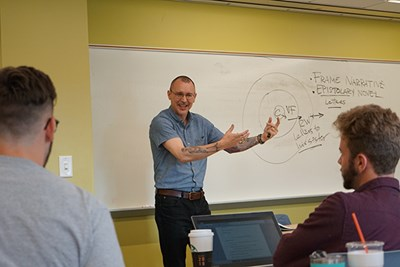 UMass Lowell English Dept. Chairman Todd Avery teaches a class on Monsters, Apes and Nightmares