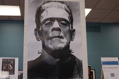 A display in O'Leary Library at UMass Lowell honors the 200th anniversary of Mary Shelley's novel