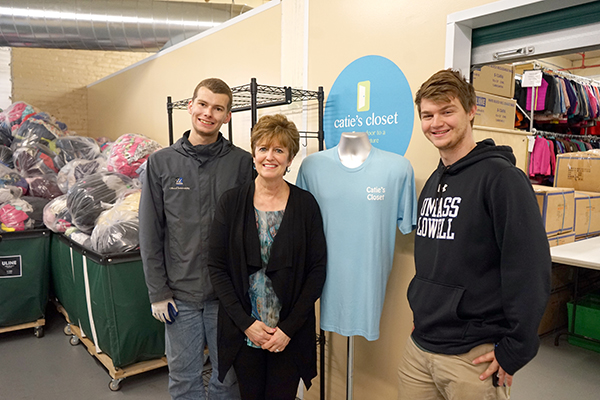 Shawn Nagle and Michael Doherty with Denise Trombley at Catie's Closet