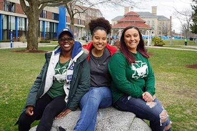 Transfer students Chantay Sewell-Jones, Nicole Morales-Taveras and Jessica D'Esposito on South Campus