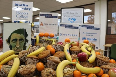 Muffins, fruit, yogurt and books are on offer during UML Honors College Muffin Mondays.