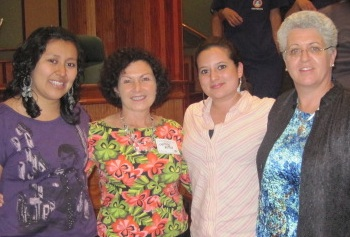 Deirdra Murphy, right, taught physical therapy workshops in Guatemala. Murphy is pictured with two graduates of the PT program at the Universidad Mariano Galvez and Cindy Potter, second from left, a volunteer from Pittsburgh.