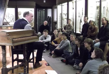 Music students and faculty toured the MFA musical instrument collection with curator Darcy Kuronen.