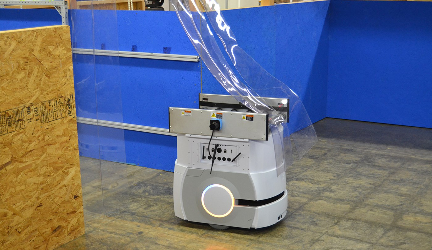 Omron Adept LD robot navigating through soft partition