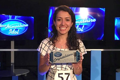Nicole Hayek holds her Silver Ticket after winning NH Idol