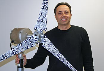 Profs. Christopher Niezrecki, above, Julie Chen and Peter Avitabile received a three-year $195,000 grant from the National Science Foundation to look at new methods for predicting dynamic stress and strain on vibrating flexible structures — such as wind turbine and helicopter blades — during operation using computer modeling and experimentation.
