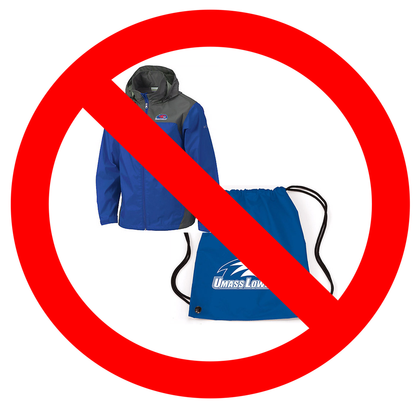 No sign over UMass Lowell jacket and bag. At the UMass Lowell Testing Centers: Leave your jacket and bags in the office. They cannot be taken into the testing areas.