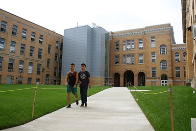 Students walk through the North Campus quad
