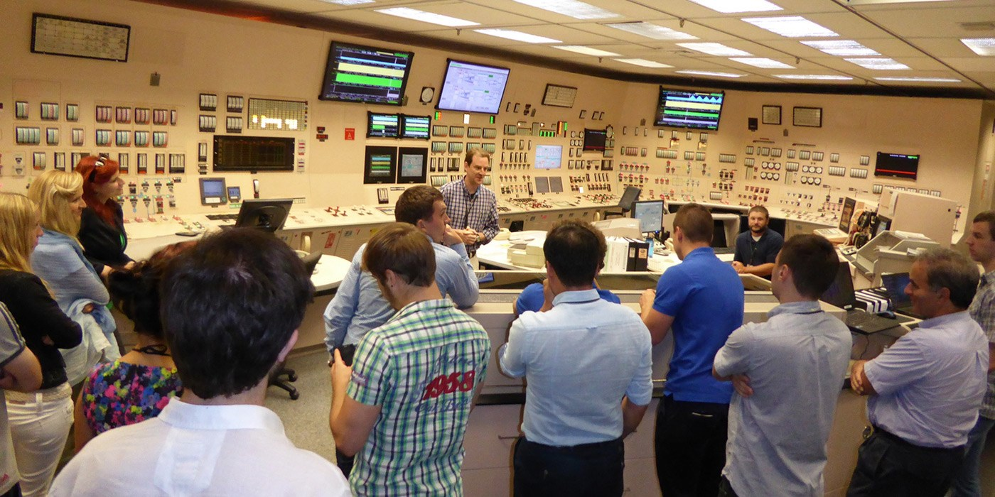 Chemical/Nuclear Engineering students touring the control room of the nuclear reactor.