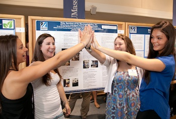 Nursing students, from left, Amanda Angelo, Olivia Marshall, Emily Majeski and Kelsey Barrett, presented their research and internship experience at the university's Co-op Scholars poster presentation.