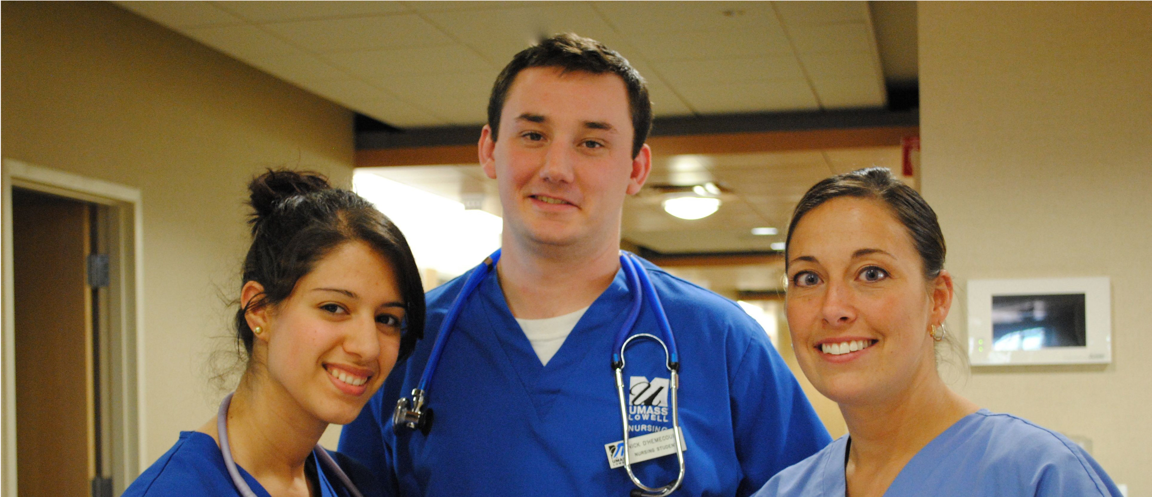 Three nursing students at D'Youville Manor