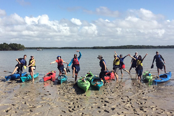 Students prepare to hit the water during the Outdoor Adventure Program's annual sea kayaking trip to Florida over winter break.