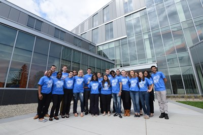 Manning School of Business students celebrate the grand opening of the Pulichino Tong Business Center in 2017, one of several game-changing facilities the campaign has helped make possible