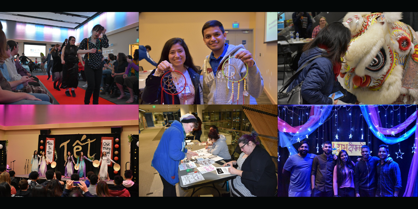 Six small photos of students attending multicultural events