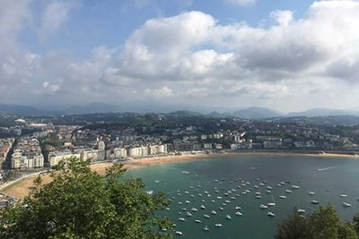 View of the harbor and beach in San Sebastian, Spain