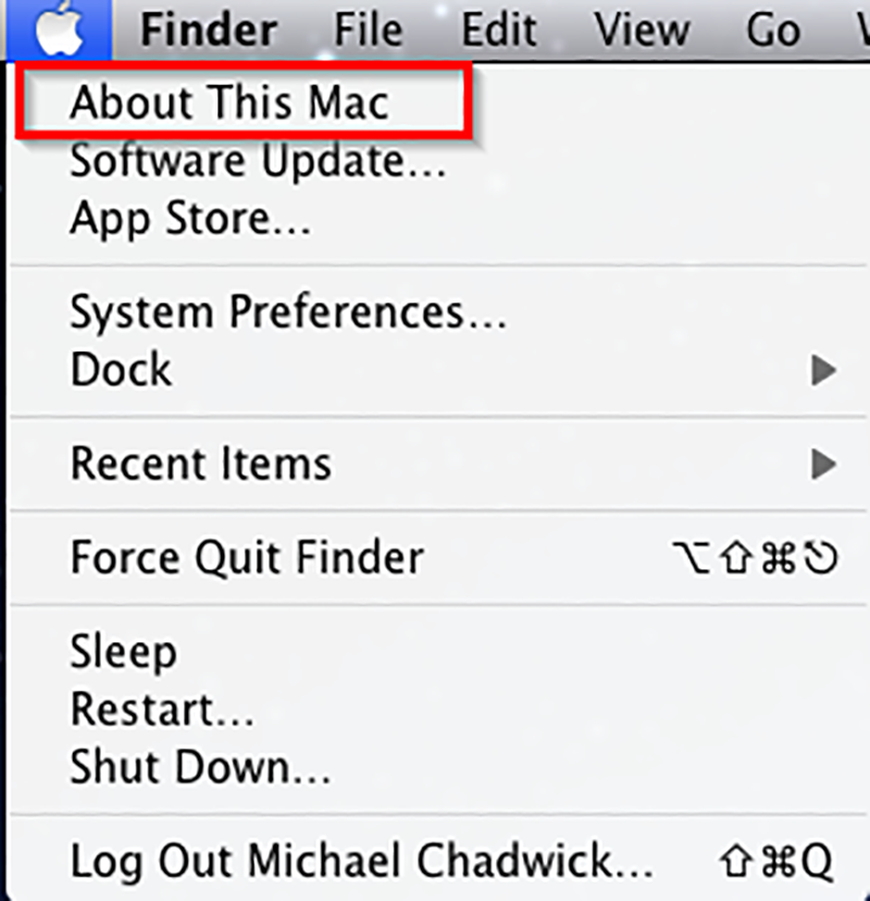 Click the Apple button in the top menu bar and then click About This Mac to see your Mac OSX version