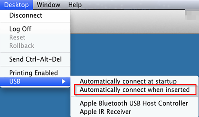 To connect a USB device to vLabs when it is inserted into your personal computer, select Desktop menu from the menu bar and then select USB from the menu, then select the Automatically connect when inserted option
