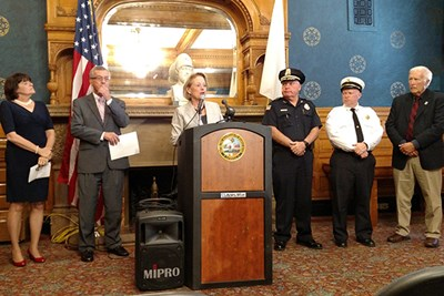 U.S. Rep. Nikki Tsongas announces the federal opioid grants