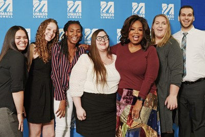 Oprah Winfrey and her scholarship winners