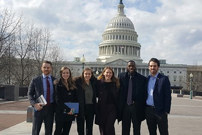 UML Lecturer Neil Shortland with five students who won third place in the fall 2016 Homeland Security and Facebook P2P: Challenging Extremism competition