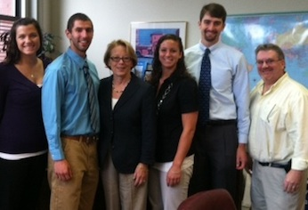 From left, students Ashley Corbett, Brendon Connor; U.S. Rep. Niki Tsongas; students Kristine Little and Brenton Kubik; and Chair of the Physical Therapy Department Sean Collins.