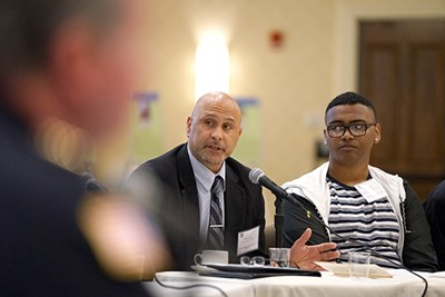 Lawrence High principal Michael Fiato speaks during the panel discussion