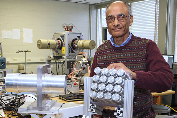 Prof. Partha Chowdhury will use the neutron detector arrays that were designed and built in the university's Radiation Laboratory on North Campus to study the structure of the atom's nucleus.