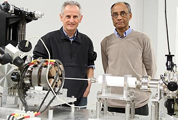 Profs. Christopher Lister, left, and Partha Chowdhury.