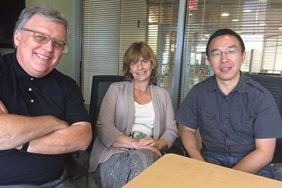 From left, UMass Lowell faculty members Ron Corbett, April Pattavina and Guanling Chen