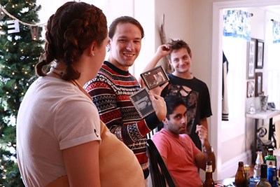 "Elise Gorzela (in fat suit) and Reid Kapala discuss what items ""Harold"" (Mike Caizzi, standing) will steal in Episode 3 of ""Pen and Jo"""