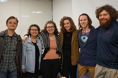 "Cast and crew of ""Pen and Jo,"" from left, include Mike Caizzi (homeless man), Melina Leon (Jo), Annie Walsh (Pen), Elise Gorzela (writer and director), Reid Kapala (producer) and Anthony Gervase (music research and moral support)."