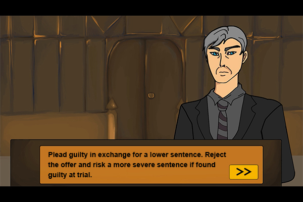 The prosecutor in the PleaJustice simulation.