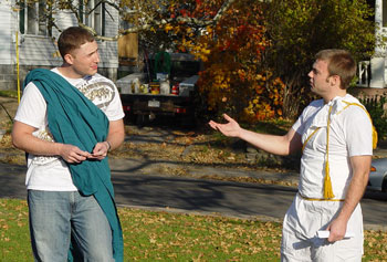 Plato, left, played by Derek Winslow,  and Socrates, right, played by Mike Gustafson, wore their formal robes to Prof. Ethan Spanier's ancient Greek history class.