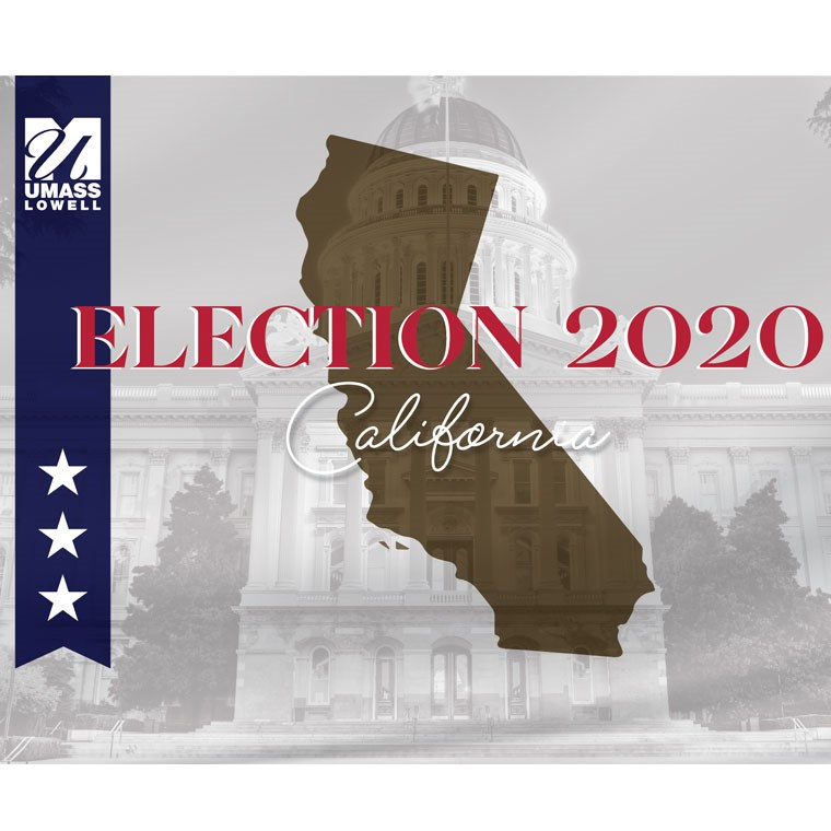 Election 2020 graphic with outline of state imposed on background image of capital building