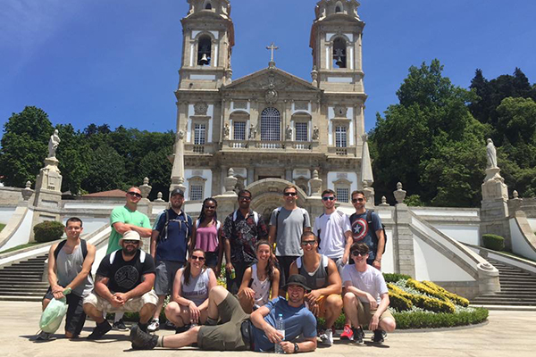 Students visit Bom Jesus do Monte, a religious sanctuary overlooking Braga, Portugal, during their study abroad course, Terrorism and Security Studies.