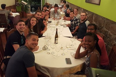 Students enjoy a dinner out in Portugal