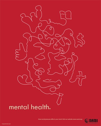 "Red poster with jumbled line drawing that reads ""mental health."" by Elias Awad"