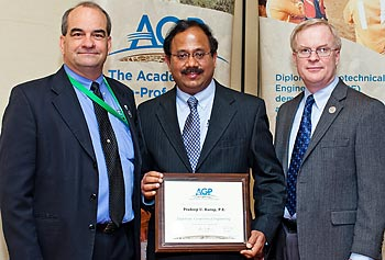 Prof. Pradeep Kurup, center, is shown being inducted into the Academy of Geo-Professionals as a Diplomate in Geotechnical Engineering during Geo-Congress 2012 in Oakland, Calif., in March.
