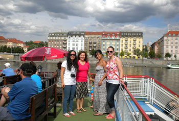 Asst. Prof. Jana Sladkova, second from left. led a program for UMass Lowell students this summer at Charles University in Prague to study immigration issues in the U.S. and Central Europe.