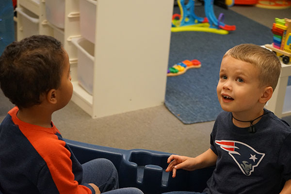 Two preschool children at the PrideStar Center for Applied Learning.